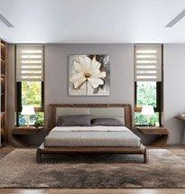 Giường ngủ gỗ óc chó tựa đệm kiểu dáng đơn giản, lịch lãm GN05