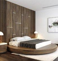Giường ngủ hình tròn gỗ óc chó cao cấp GN01